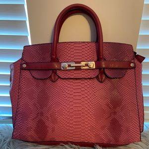 Red design handbag